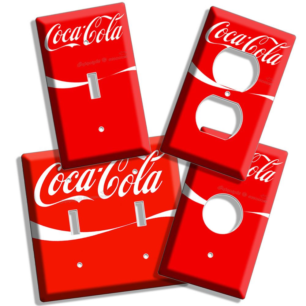 RED COKE WHITE WAVE COCA COLA LIGHT SWITCH OUTLET WALL PLATE COMBO KITCHEN  DECOR in Art