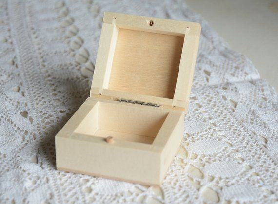 Small wooden box, natural unfinished wood box, plain ...
