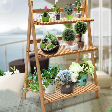 Multi Tier Flower Plant Shelf Bamboo Long Plant Stand Table Foldable Flower Rack Plant Stand Plant Shelves Plant Stand Table