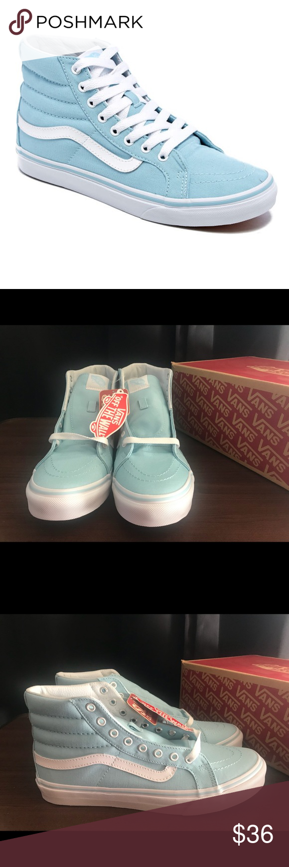 8574dbb561 Vans Sk8-Hi Slim Vans Sk8-Hi Slim Crystal Blue True White Women Sz 10 Vans  Shoes