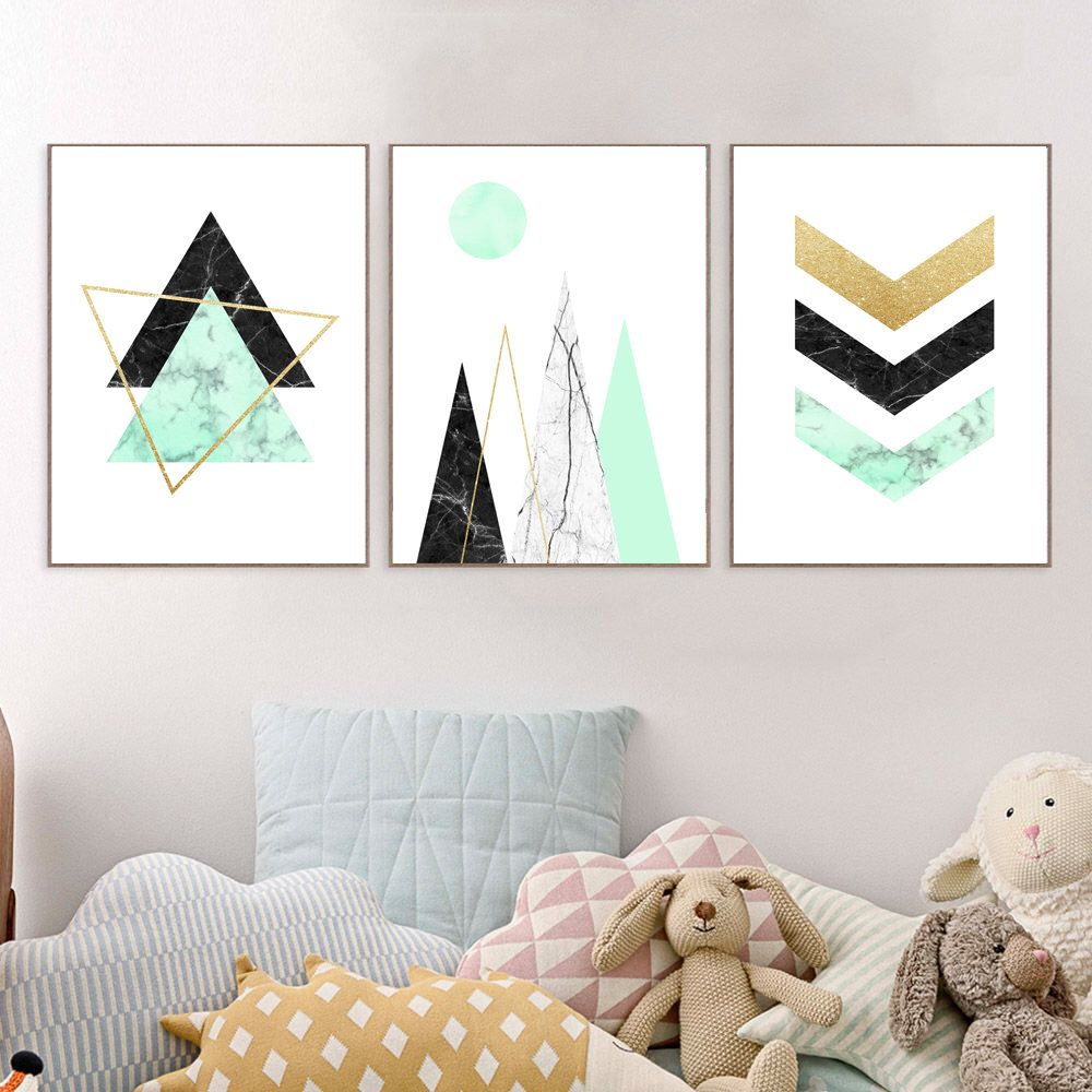 Etsy shop set of 3 abstract art prints nordic style wall decor scandinavian mountains poster chevron marble wall artgeometric trianglesmint gold