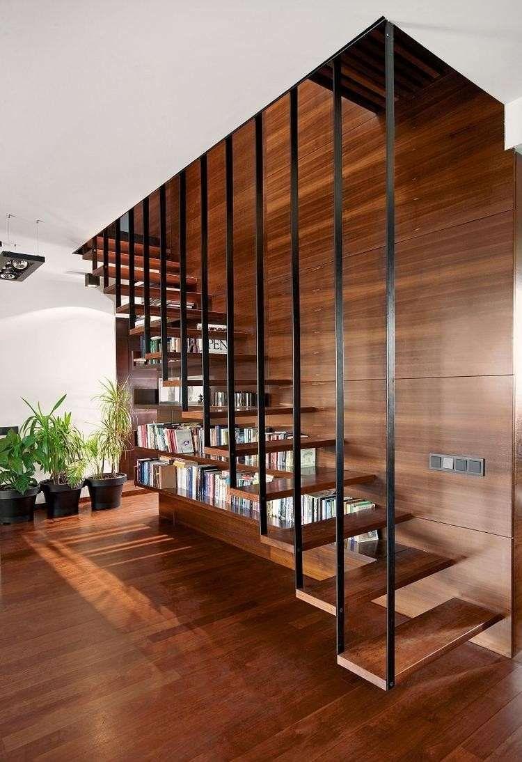 Escalier biblioth que pour tirer profit de chaque recoin for Bois flottant mural