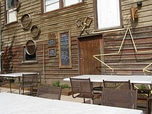 The Red Cafe has excellent meals and decor inside or outside, this is a really unique timber wall
