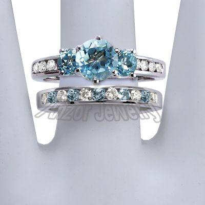 Wedding Ring Sets Mystic Topaz 14k Solid White Gold Blue