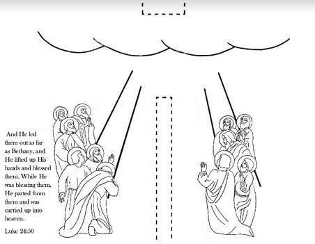 Free printable Catholic feast of the Ascension pull tab