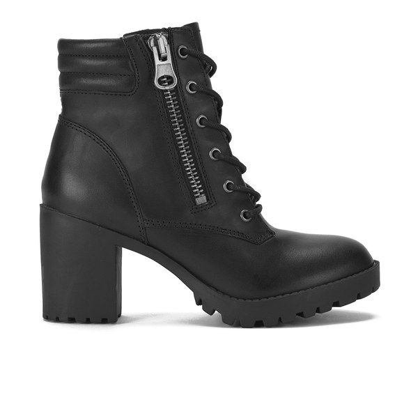 Steve Madden Women's Noodless Zip and Lace Up Leather Ankle Boots ...