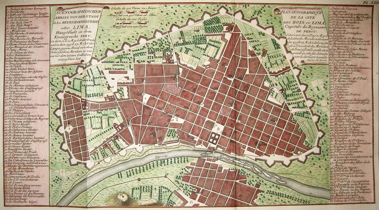 The Great American Grid     Map of Lima  Peru in 1750   Maps     The Great American Grid     Map of Lima  Peru in 1750