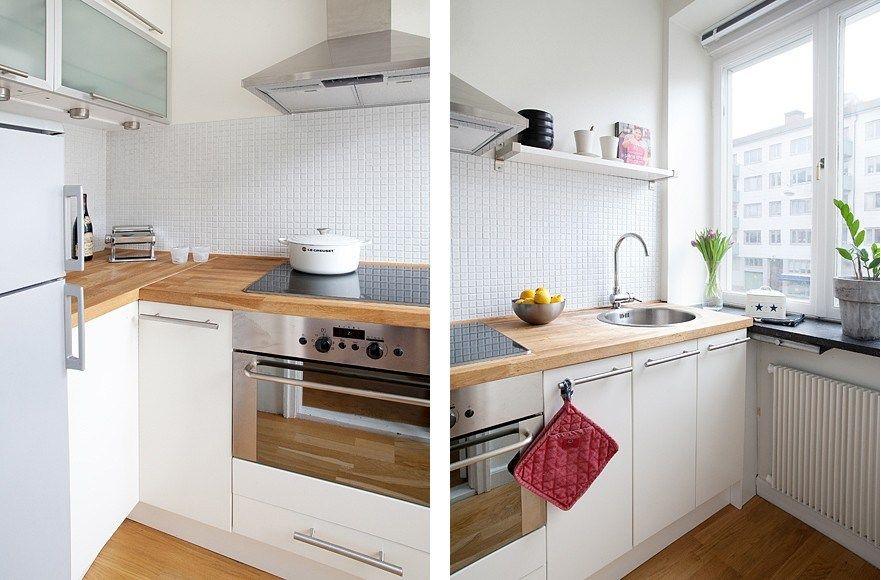 Cocinas Encimera Madera | Cocinas Blancas Iv Cocina Escandinava Cocina Ikea Y Cocina De