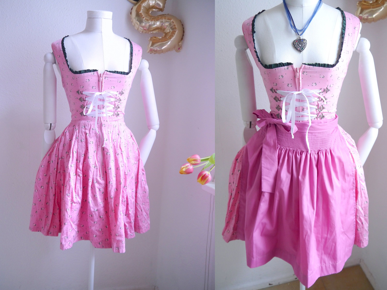 Apron white and pink floral cotton Bavarian folk apron dirndl