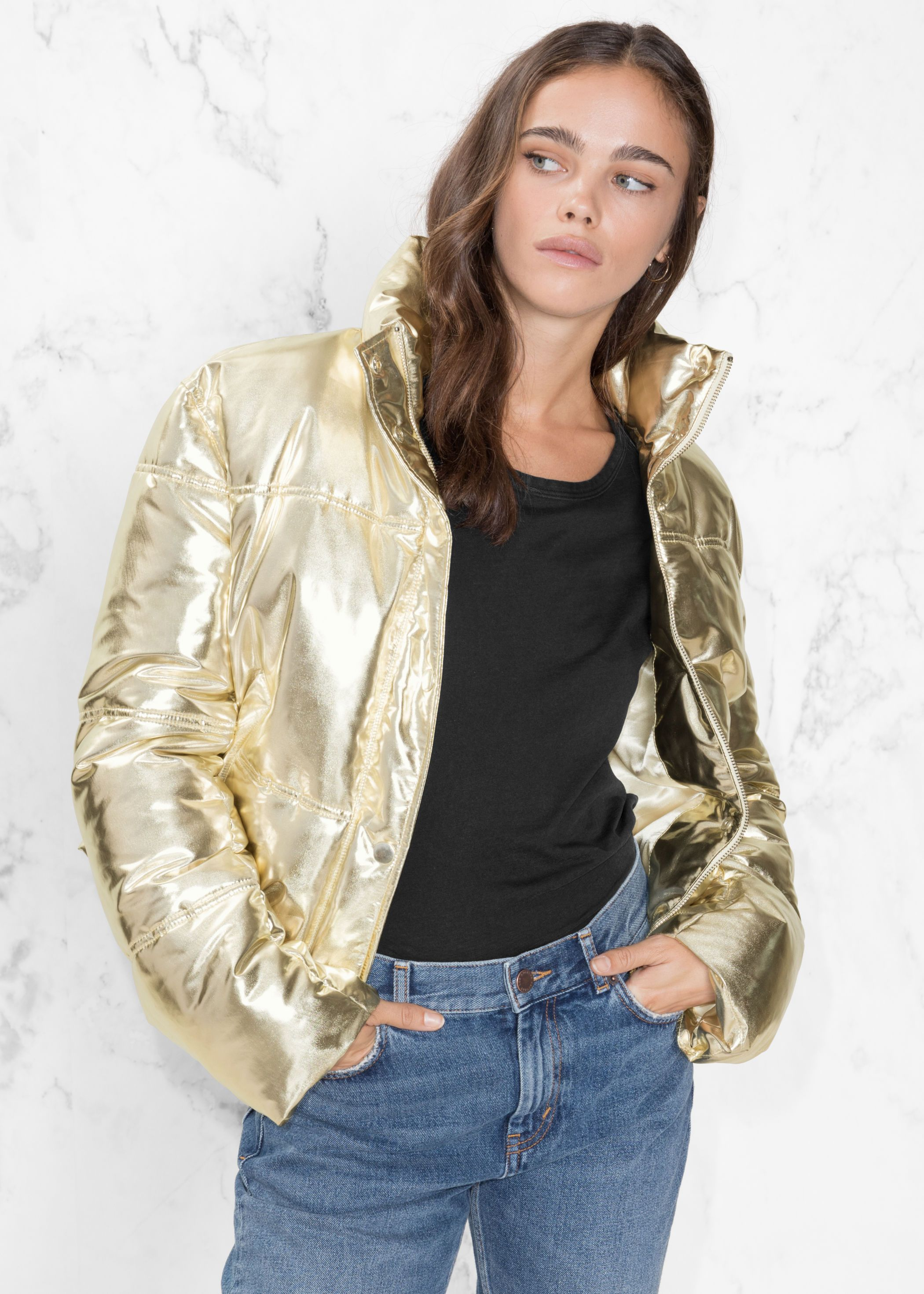 Metallic Puffer Jacket In 2020 Jackets Fashion Puffer Jackets