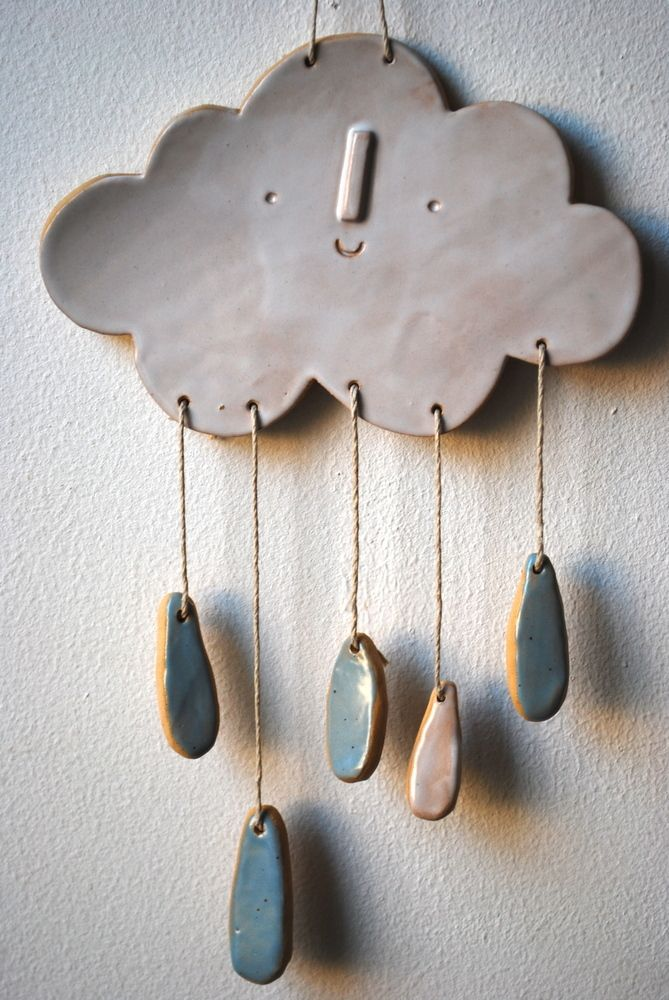 Image Of Cloud Wall Mobile Hanging Pottery Ceramic Clay Clay