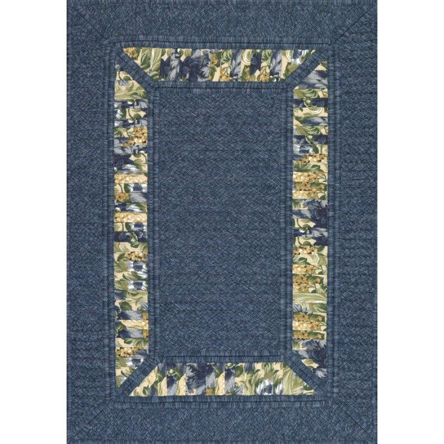 Ams Imports Rain Or Shine Denim Floral Blue Ribbon Border In Border Indoor Outdoor Rug Rk 17 8 X 10 Rugs Area Rugs Border Rugs