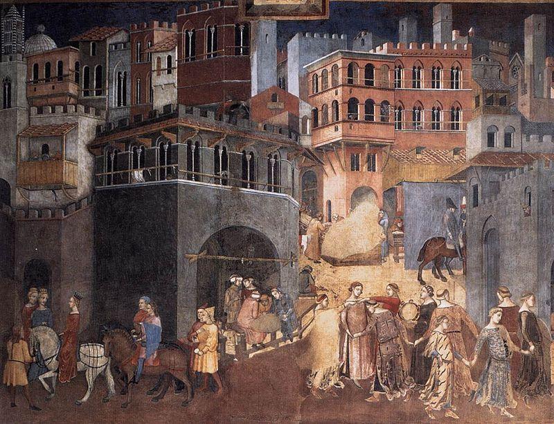 Ambrogio Lorenzetti - Gli Effetti del Buono Governo in città, dettaglio - affresco - 1338-1339 - Siena - Palazzo Pubblico, Sala dei Nove o Sala della Pace