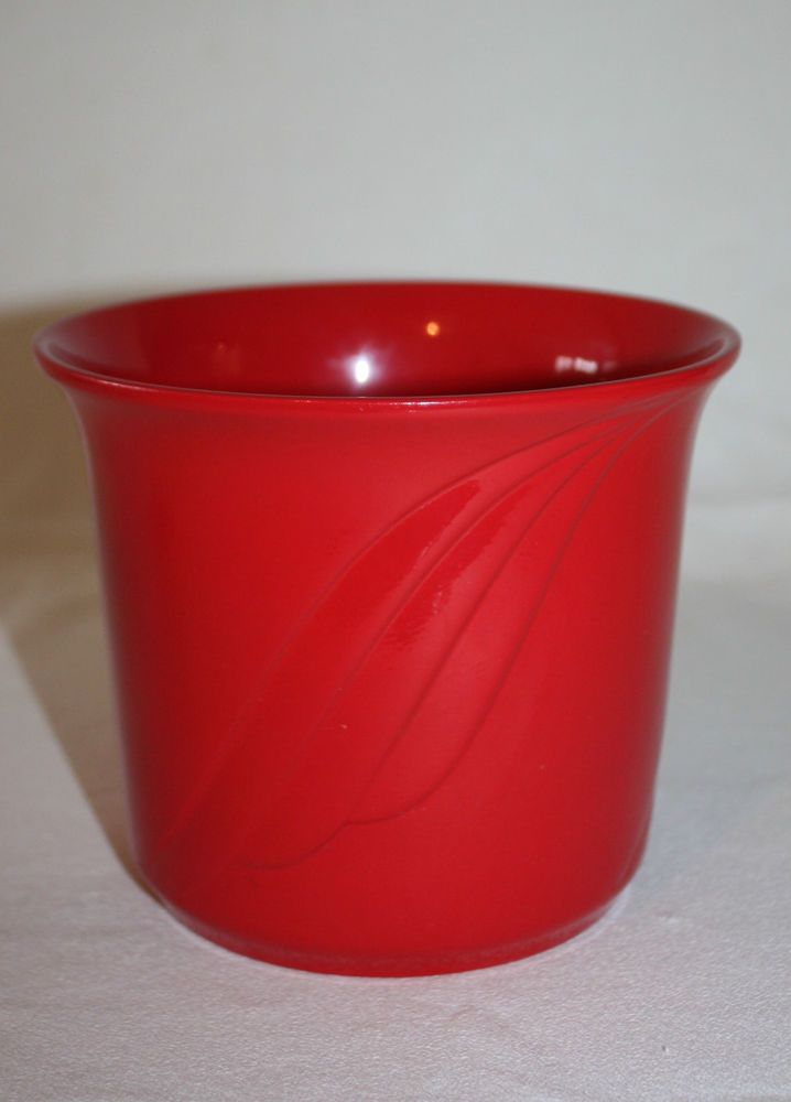 """Vintage 1970 Red Vase Made in Germany Numbered Stamped Glossy Flower Pot 5"""""""