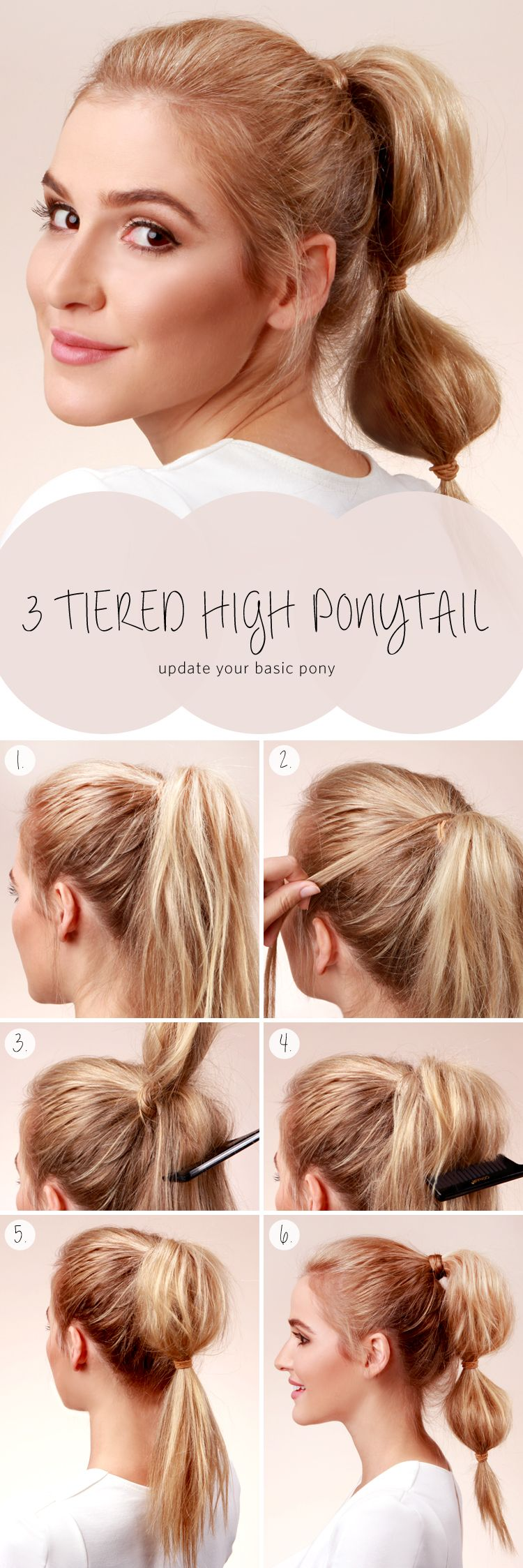 Lulus howto three tiered high ponytail tutorial high ponytails