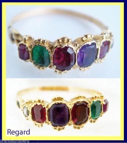 Antique Victorian Ring Regard Gold Ruby Emerald Garnet Amethyst Diamond 4957   eBay