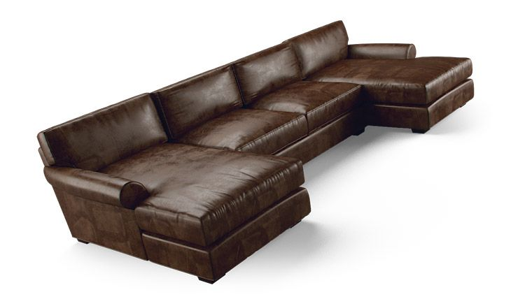 Leo Leather U-Chaise Sectional  sc 1 st  Pinterest : u chaise sectional - Sectionals, Sofas & Couches