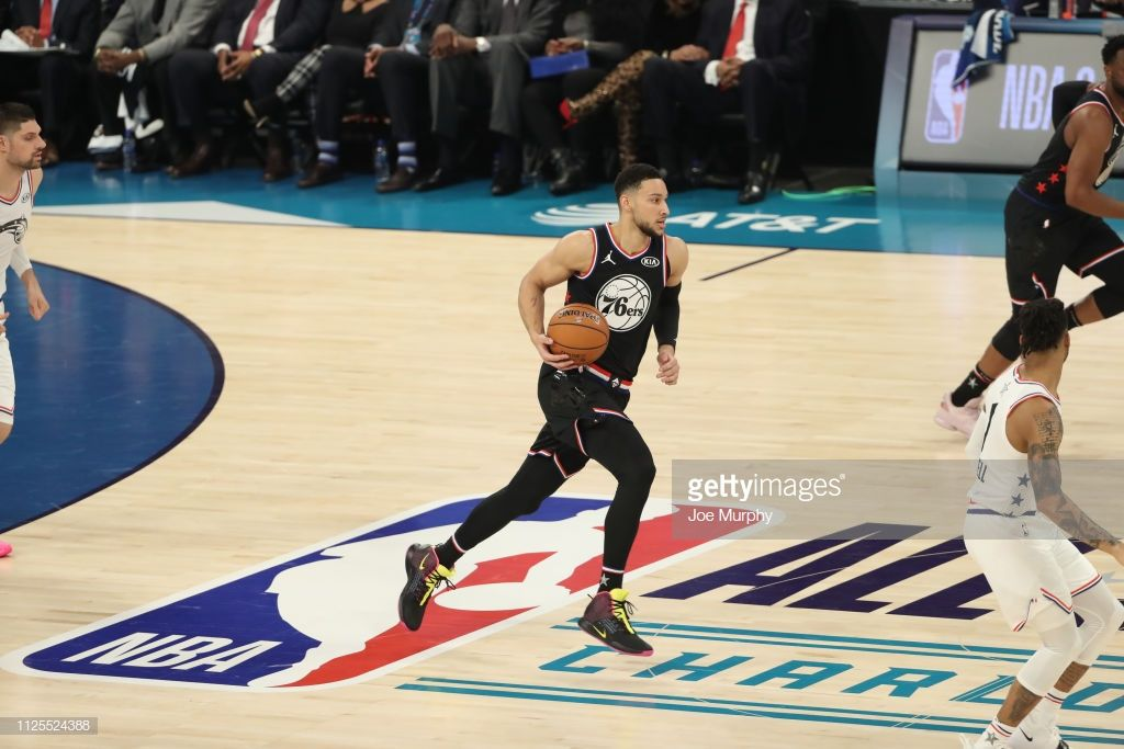 Ben Simmons of Team Lebron dribbles the ball up the court