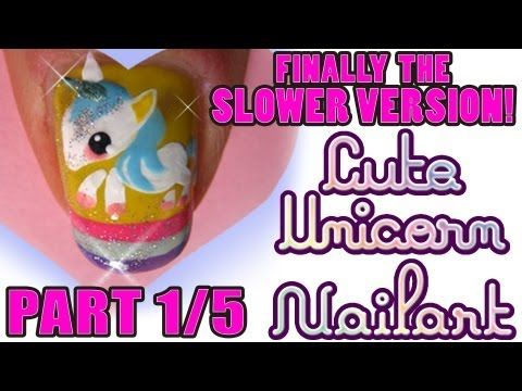 Kawaii unicorn nail art