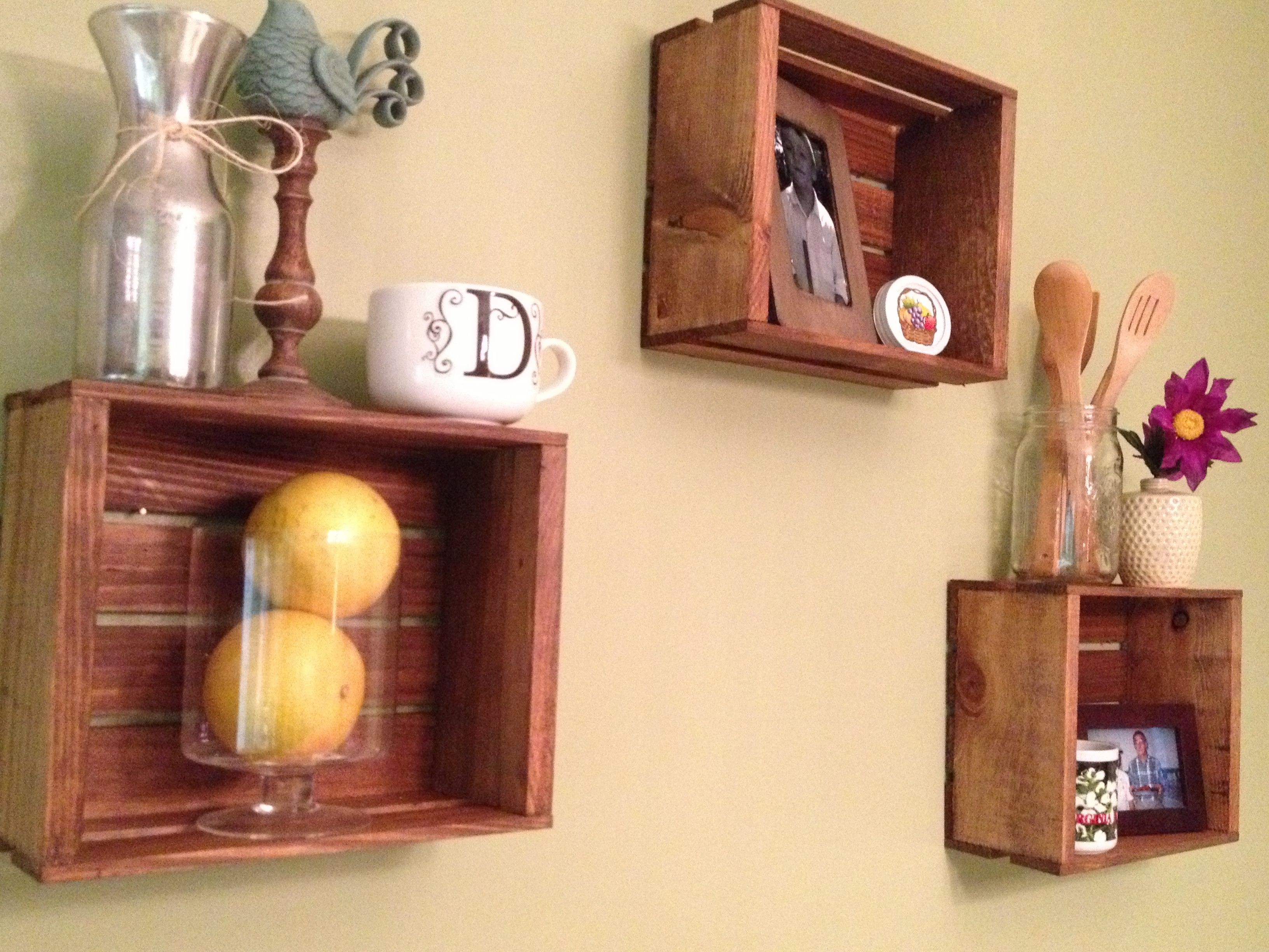 Small wooden crates from Michael\'s, stained and hung on the kitchen ...