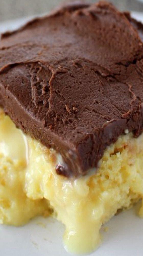 Boston Cream Pie Poke Cake