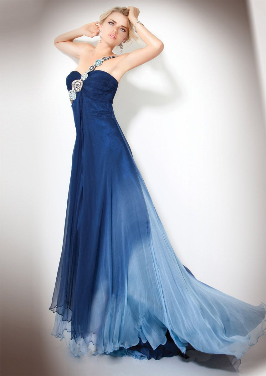 red navy blue wedding | Navy Blue A-Line One Shoulder Zipper Sweep ...