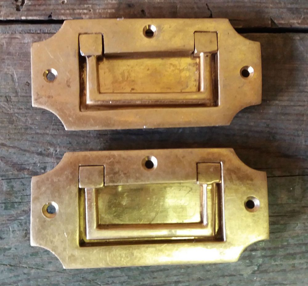 2 Vintage Solid Brass Recessed/Flush Door/Drawer/Cupboard/Cabinet ...