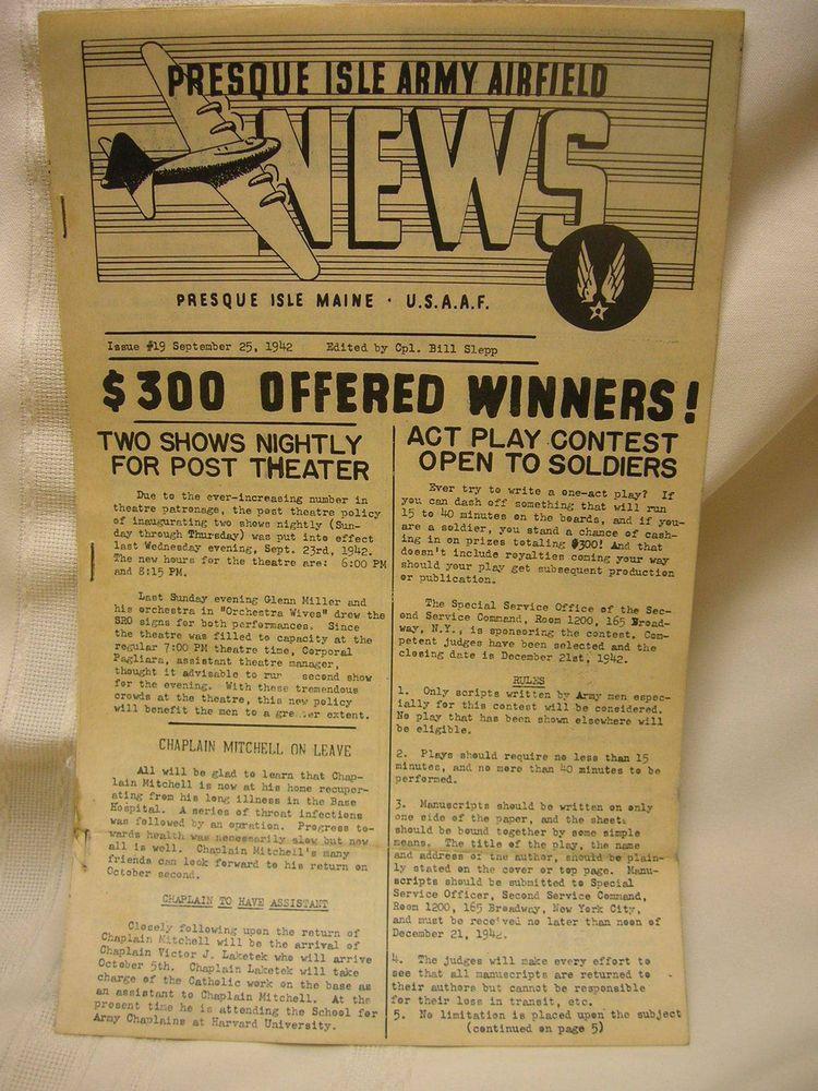 Vintage WWII 1942 Newspaper Presque Isle Army Airfield Maine ...