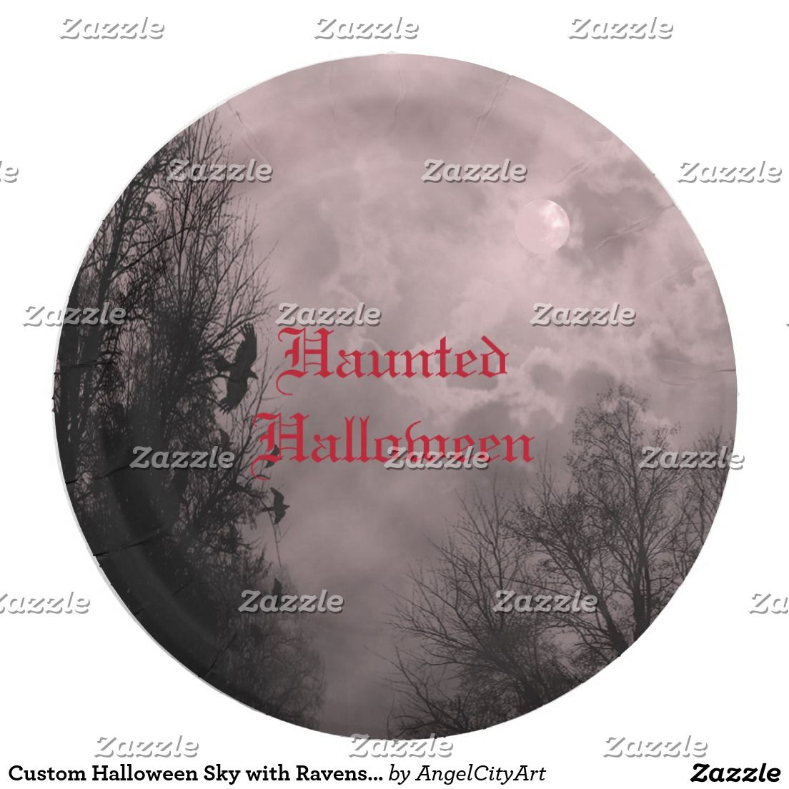 Custom Halloween Sky with Ravens Red Mist Plate | Sky, Raven and ...