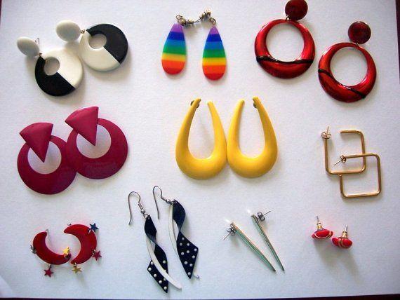 Vintage Earring Lot Mod New Wave 60 S 70 S 80 S 80s Earrings 80s Jewelry 80s Fashion Trends