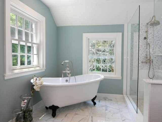 salle de bain rétro sol-marbre-pieds-baignoire-noirs   Salle de ...