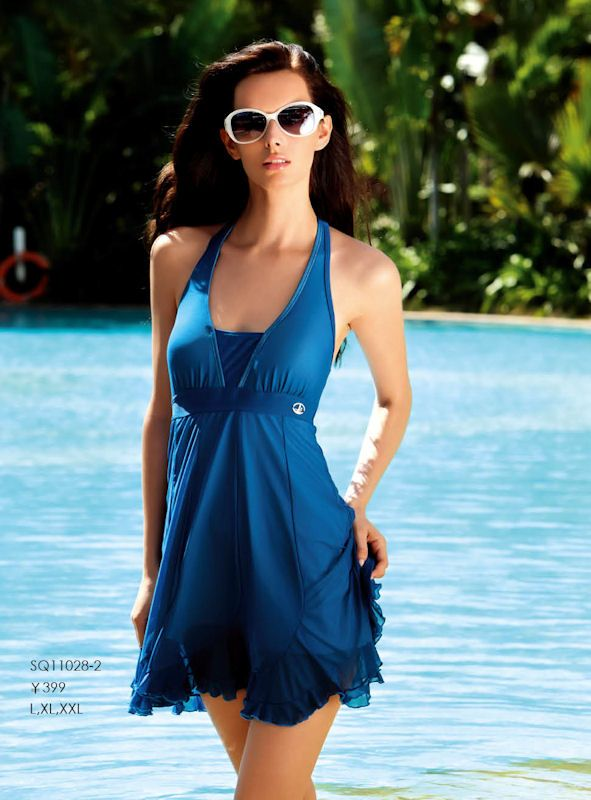 0e16c90116 Frilly Long Swim Dress | My Style | Bathing suit dress, Swim dress ...