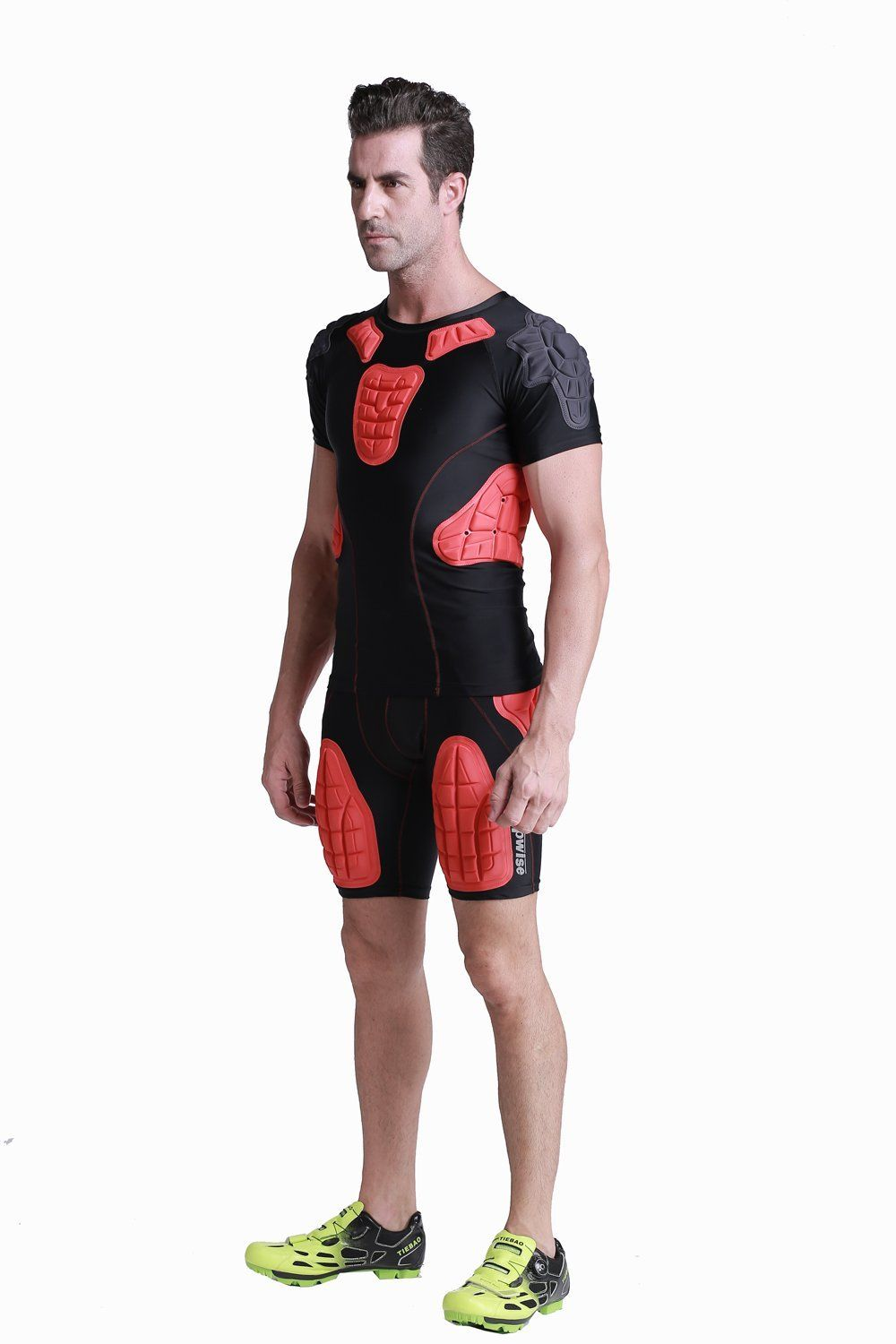 DGYAO Padded Comprssion T Shirt Mens Rugby Safe Guard Top For Chest Rib Shoulder Protector