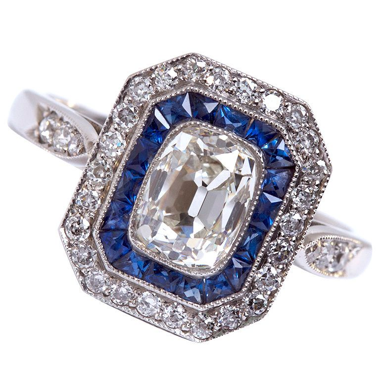 Art Deco Cushion Diamond and Sapphire Platinum Ring  US
