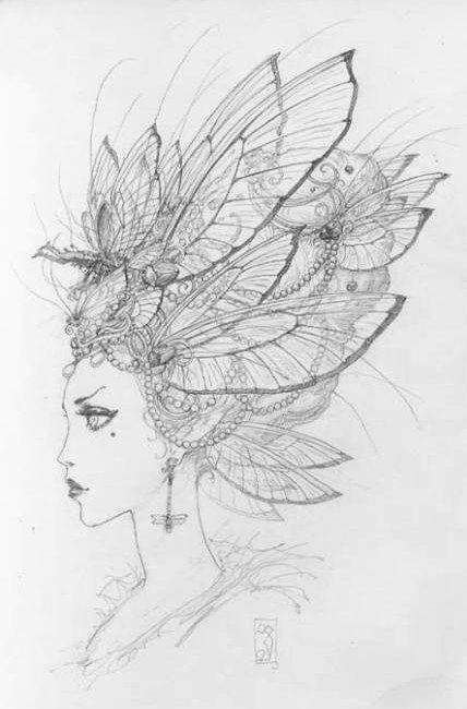 Line drawing - faery headress   Art, draws, illustrations or sketchs ...
