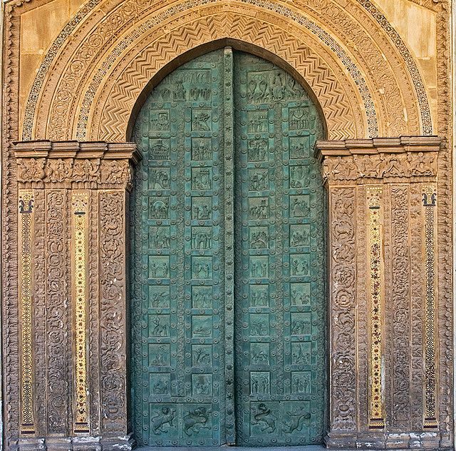 Monreale's Bronze Door Sicily, Monreale Cathedral - Bronze door,1185, curious combination of three styles - Norman-French, Byzantine and Arab. The Benedictine abbey was founded in the 12C by the Norman King, William II