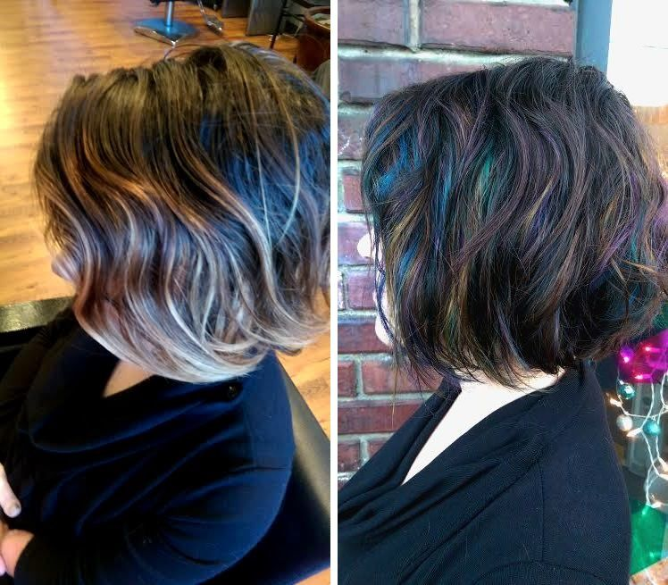 """Use This Oil Before Coloring Your Hair: Before & After Of """"The Oil Slick"""" By Carlin."""