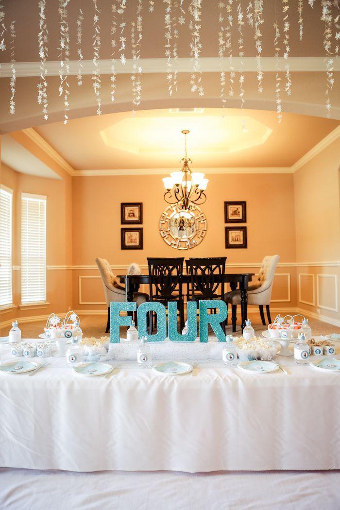 Frozen themed birthday party via Kara's Party Ideas KarasPartyIdeas.com Cake, printables, decor, invitation, games, etc! #frozen #frozenparty #letitgo #winterwonderland