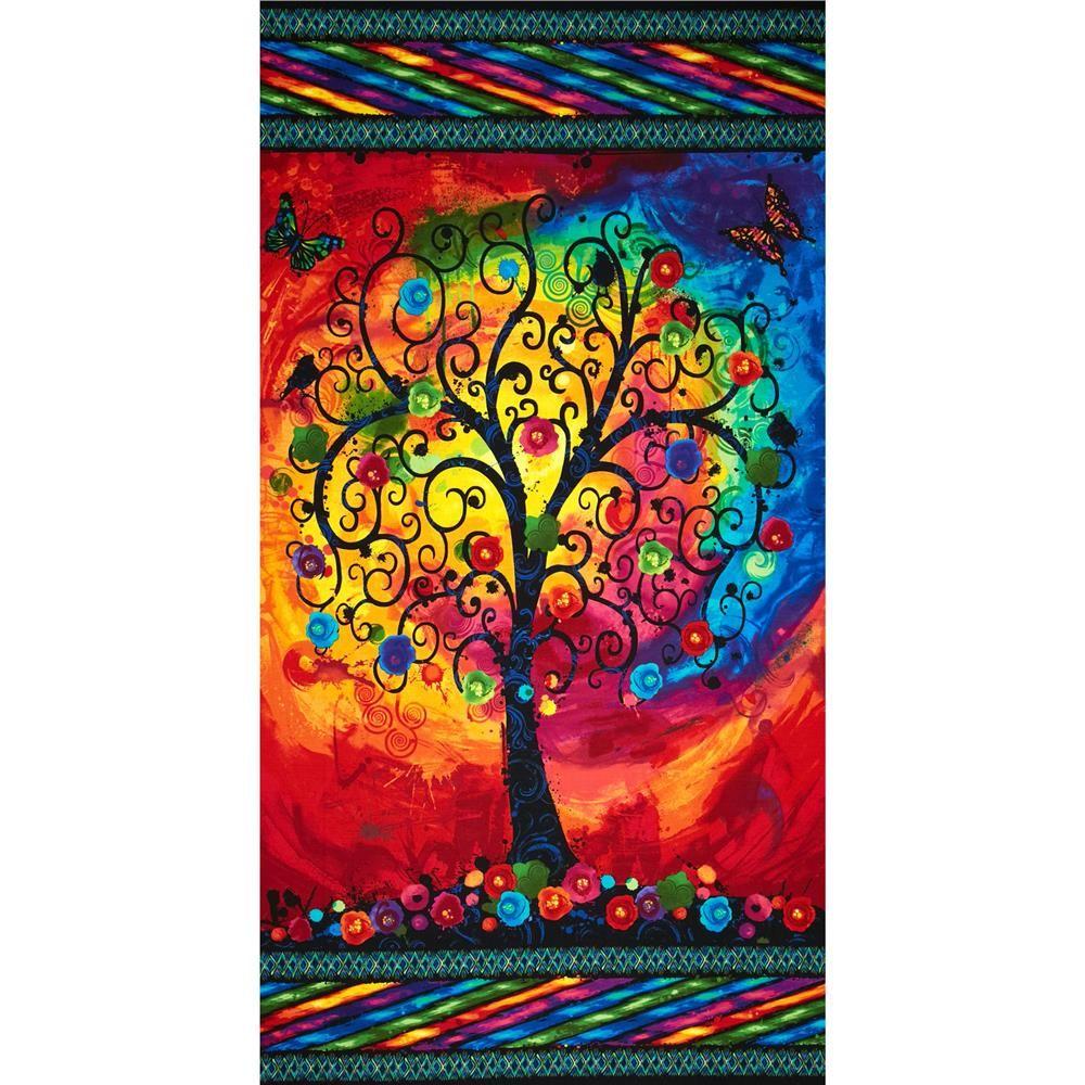 """Black Flower Fabric Timeless Treasures Tree Of Life: Timeless Treasures Fantasia Trees Panel 24"""" Multi"""