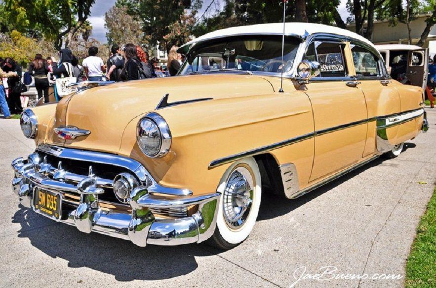 1953 Chevrolet Bel Air 4 Door Sedan Sun Gold White American