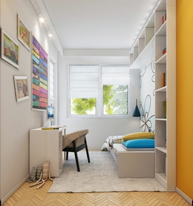 Kleines Kinderzimmer Schmal Interieur Weiss Regal Bett