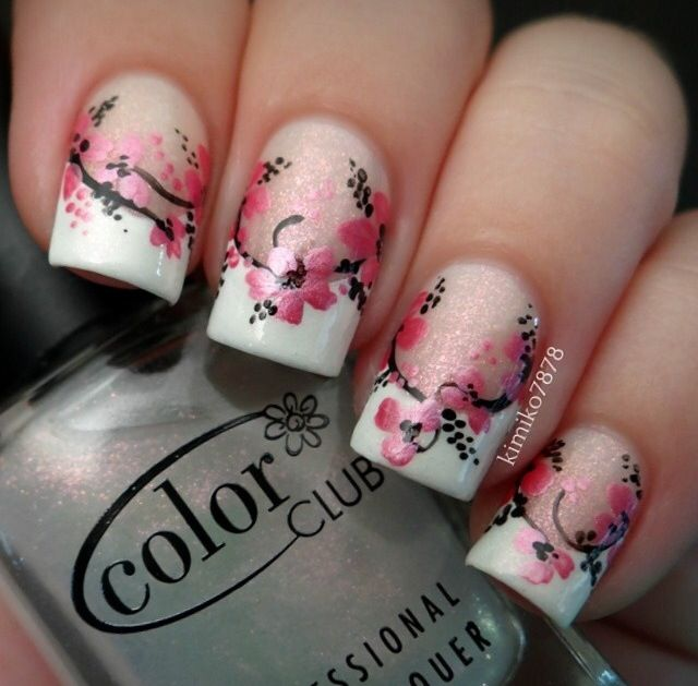 Kimiko7878 Cherry Blossom On French Manicure Floral Nails French Tip Nails Trendy Nails
