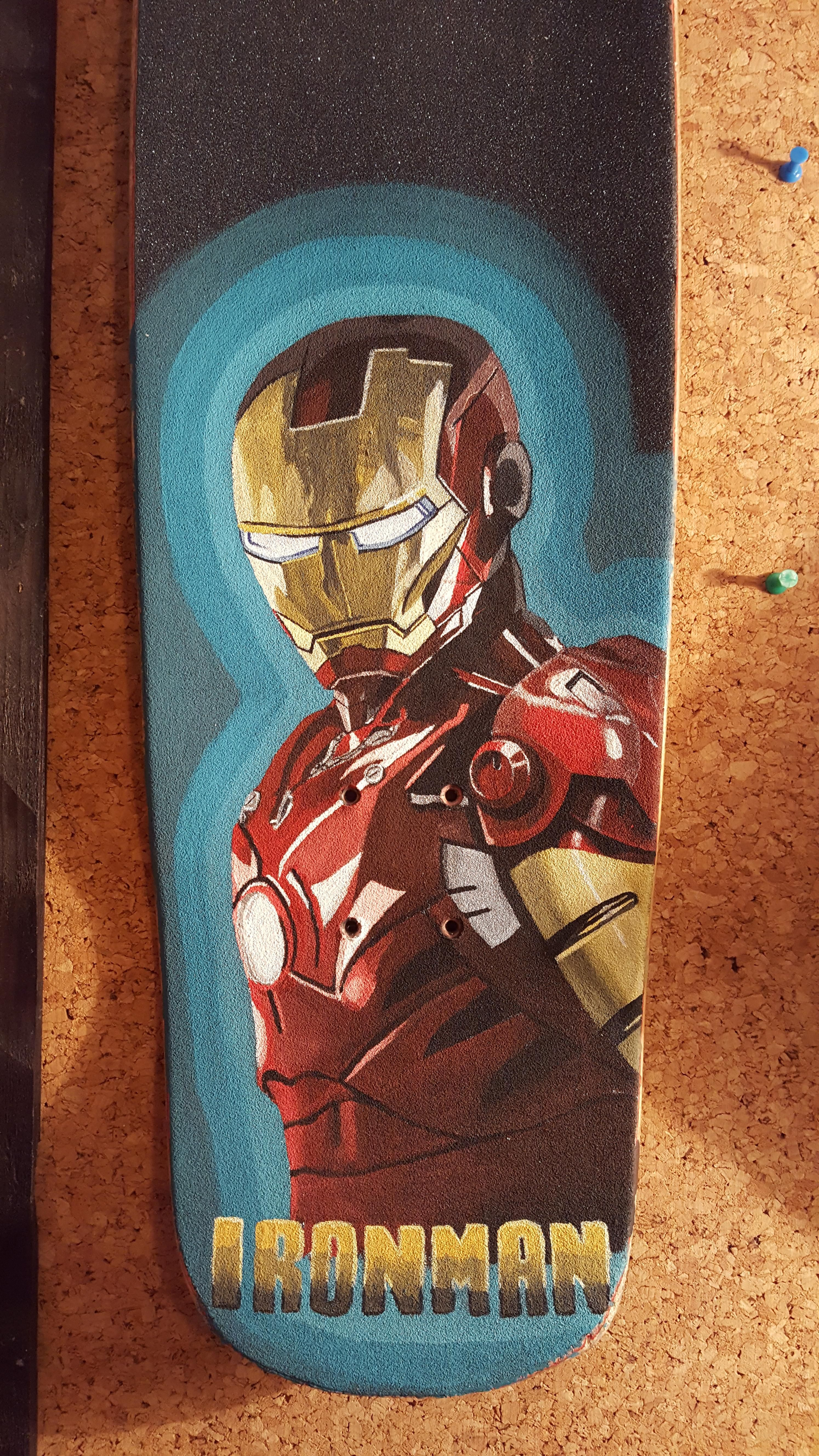 I Decided To Paint Iron Man On The Grip Tape Of My Cruzer Skateboard It Turned Out So Nice For My First Painting That I Have Iron Man Painting Tape Painting