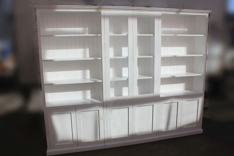 1499 White Color Solid Pine Timber 4pc Wall Unit Bookcase Shelf ...