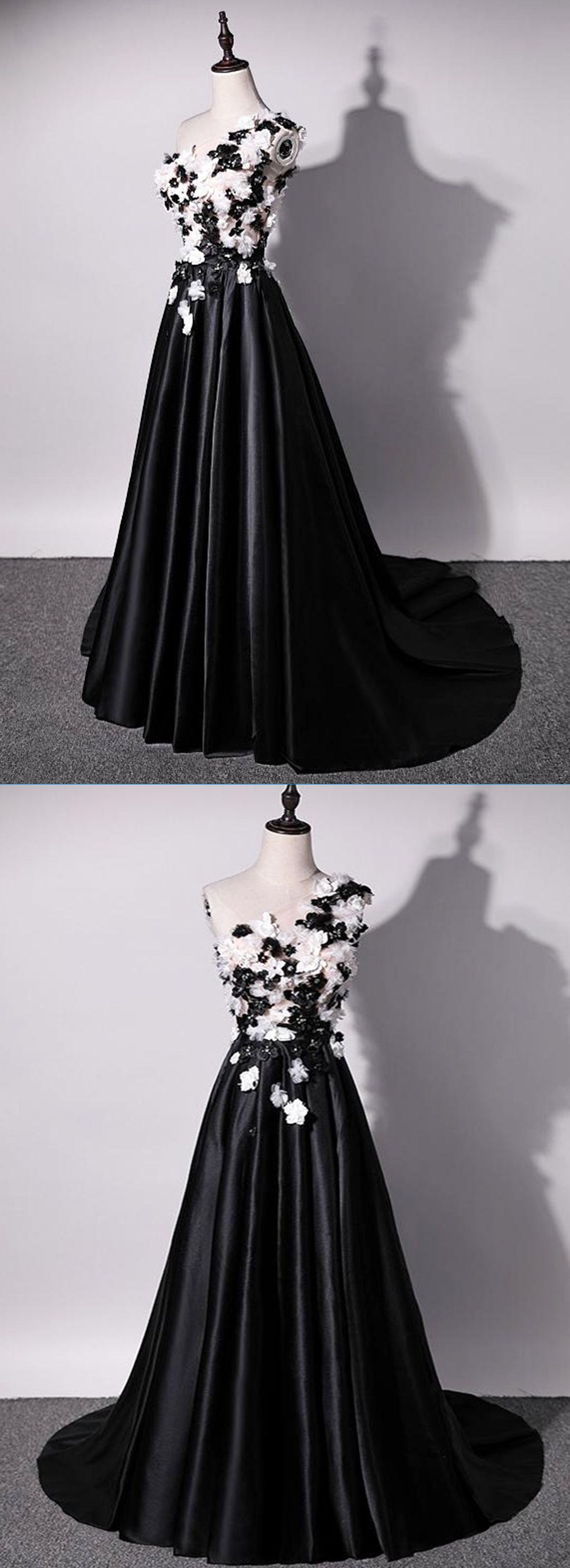 Unique black and white long satin one shoulder sleeveless prom dress