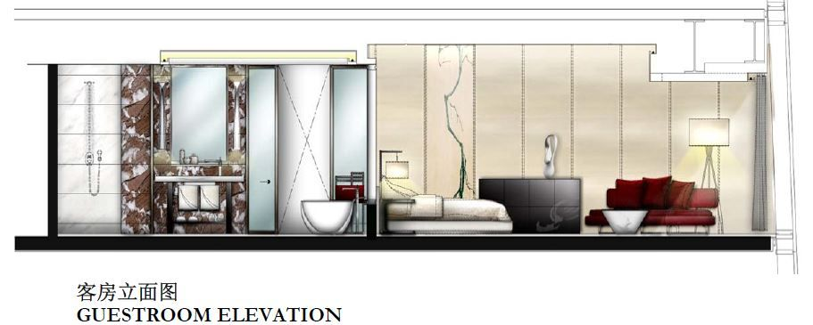 Guestroom Elevation Sketch For Four Seasons Guangzhou Designed By HBA Hirsch Bedner Associates