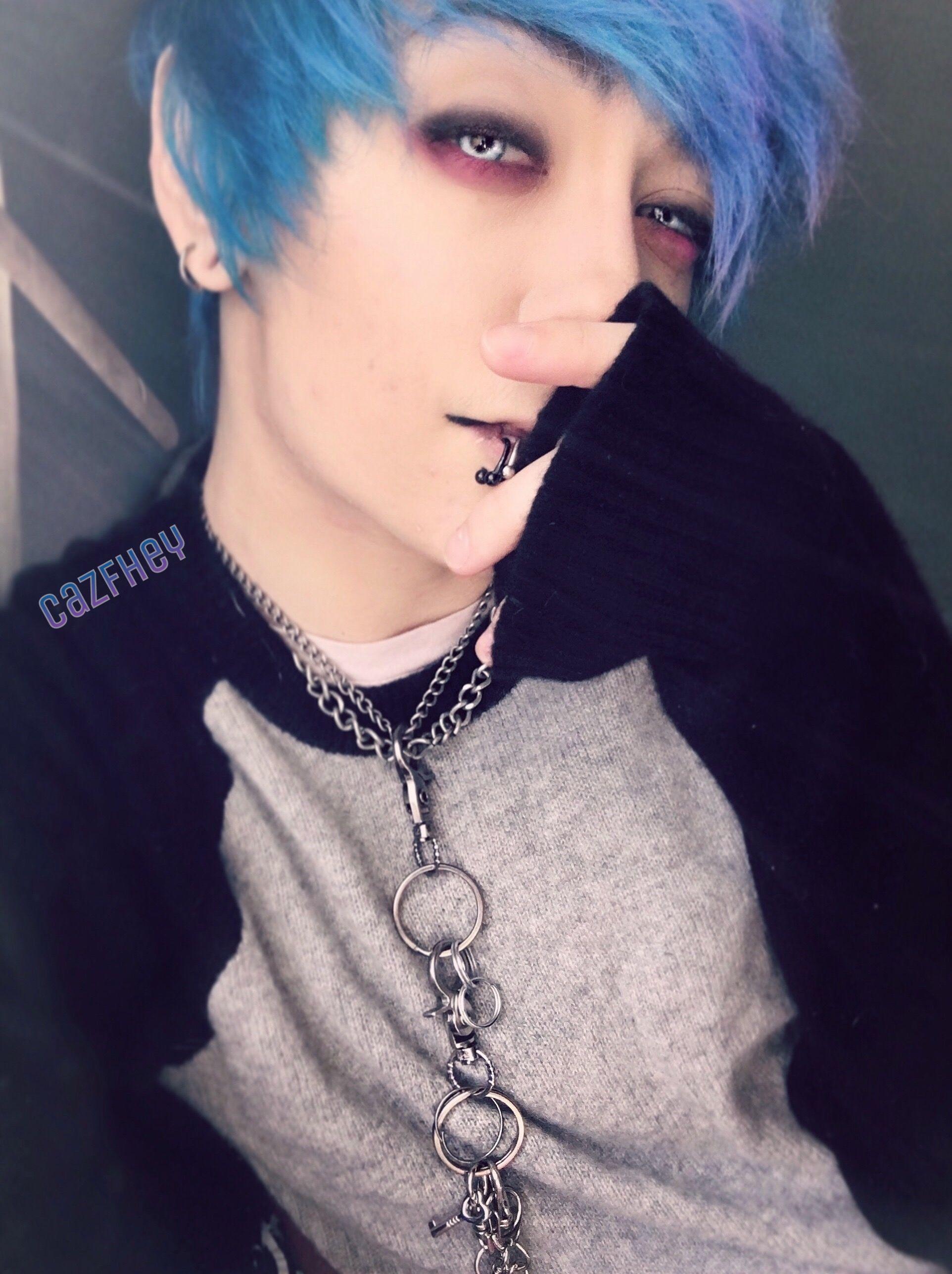 Blue hair again finally blue boy blueberry bluehair hair emo