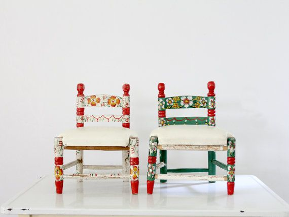 vintage kids chairs / hand painted mexican folk art by 86home $290.00 & vintage kids chairs / hand painted mexican folk art by 86home ...