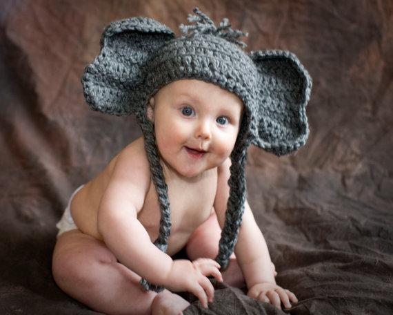 Elefante nena sombrero Alabama tobogán gorro ganchillo niños ...