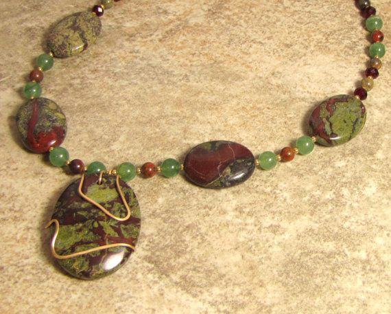 Dragons Blood Jasper Jade and crystal by BlueDoveTreasures on Etsy, $39.99